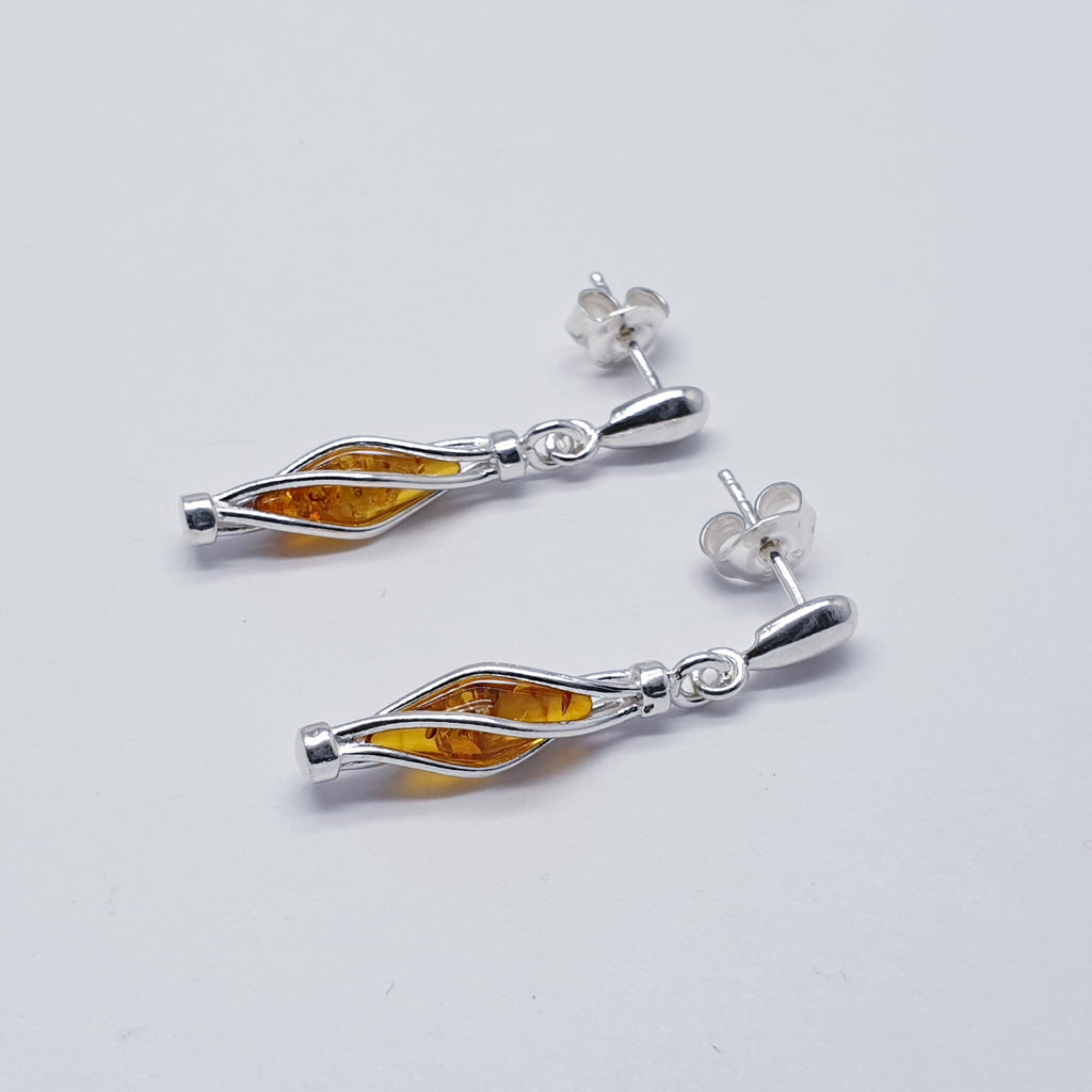 Light or Dark Toffee Amber Raindrop Earrings