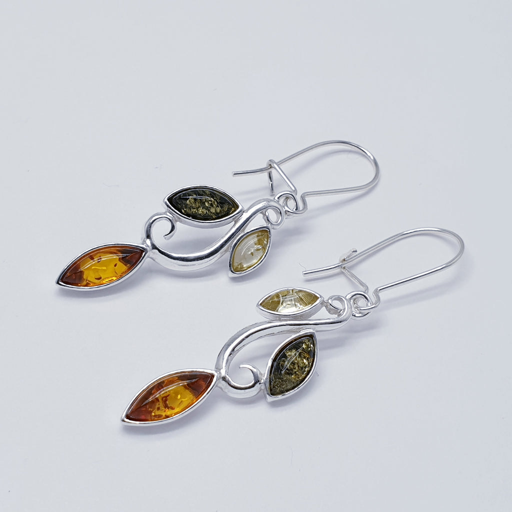 Mixed Amber Vine Earrings
