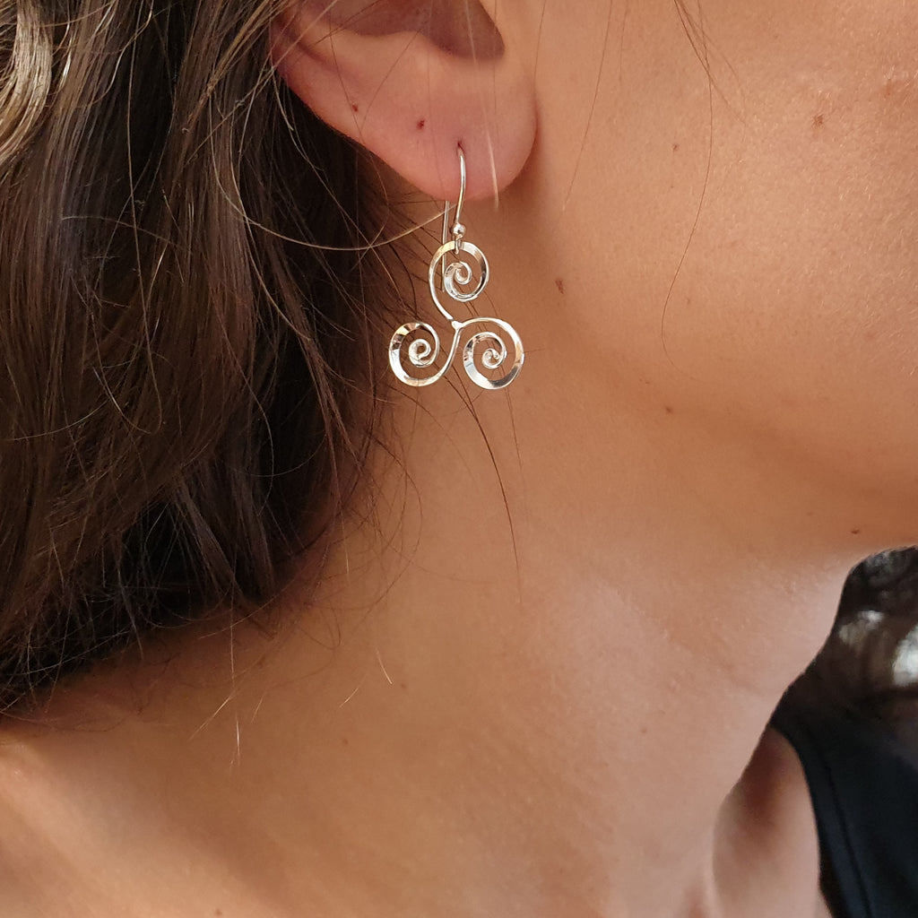 Silver Celtic Triskelion Earrings