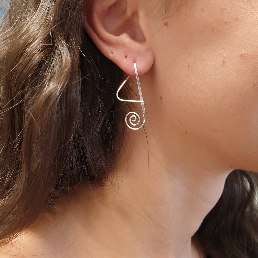 Silver Abstract Spiral Earrings