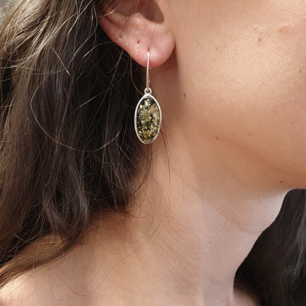 Green Amber Oblong Earrings