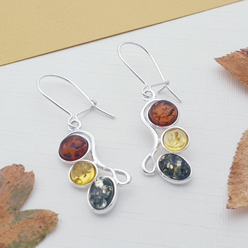 Mixed Amber Three Stone Earrings