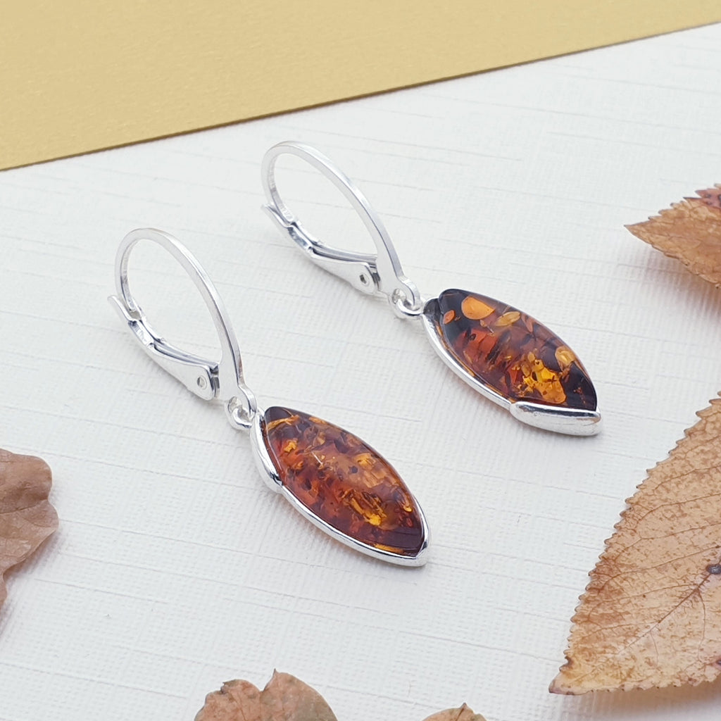 Toffee Amber or Green Amber Marquise Earrings