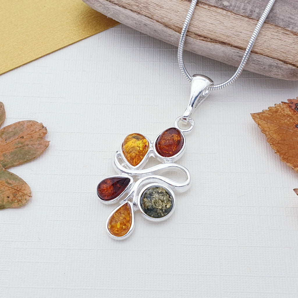 Mixed Amber Autumn Fruits Pendant