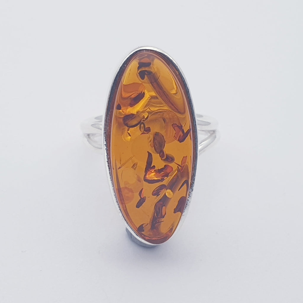 Amber Simple Adjustable Ring - Size N-S