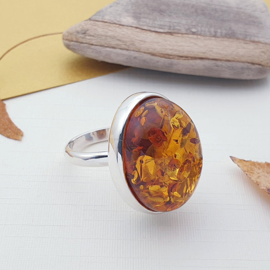 Amber Oval Adjustable Ring - Size N-R