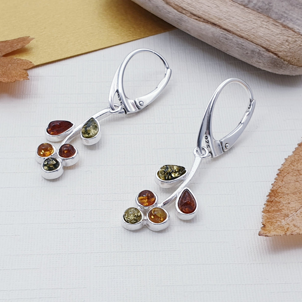 Mixed Amber Autumn Berry Earrings