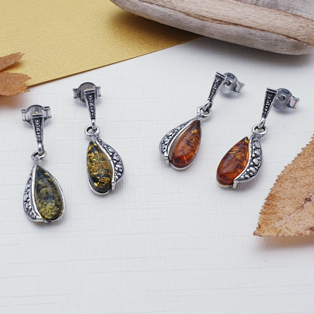 Toffee or Green Amber Justyna Earrings