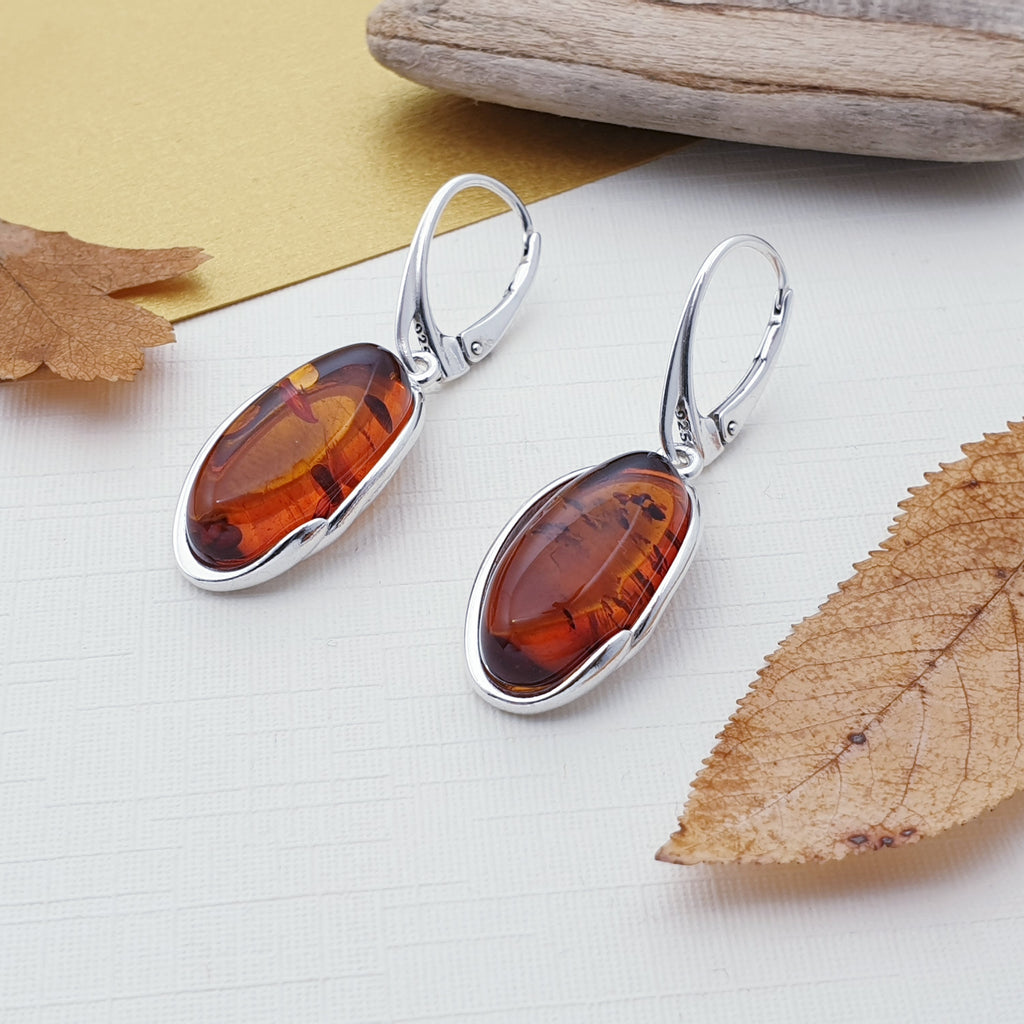 Toffee Amber Oblong Earrings