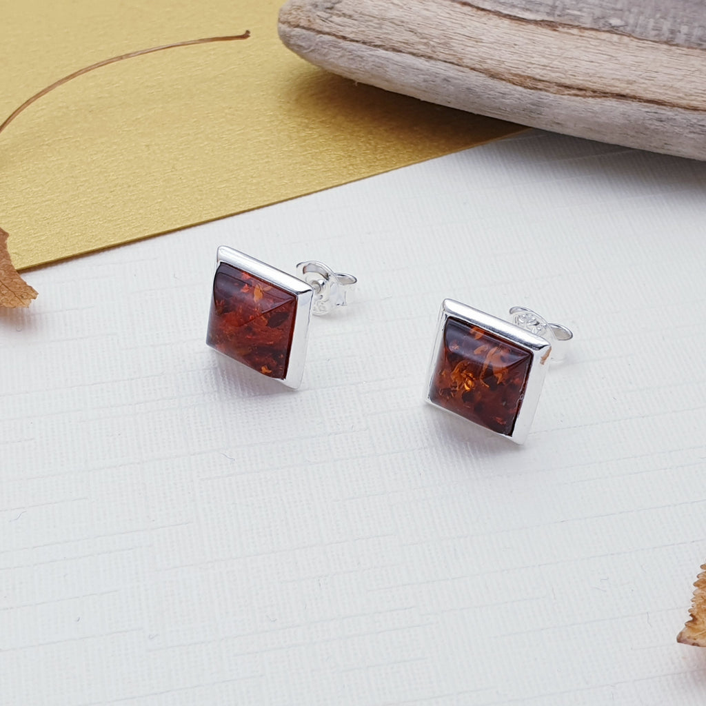 Amber Square Studs