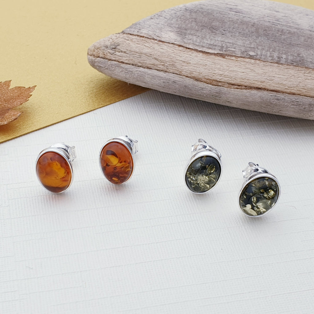 Toffee or Green Amber Large Oval Studs