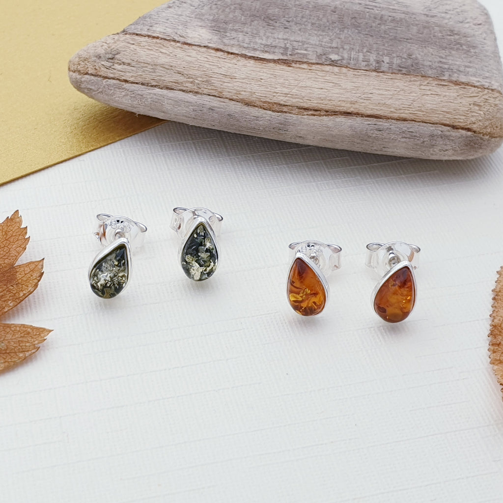 Toffee or Green Amber Teardrop Studs