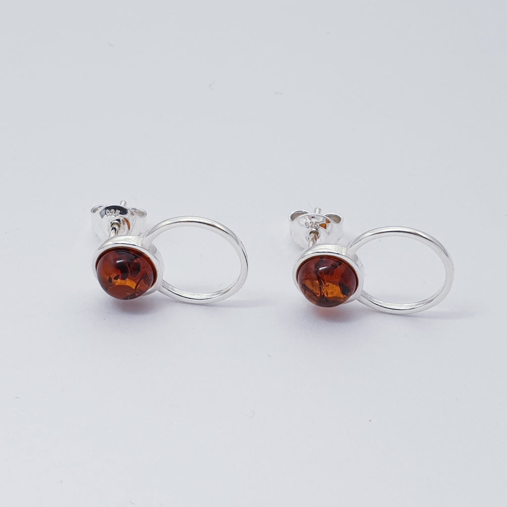 Toffee or Green Amber Circulo Studs