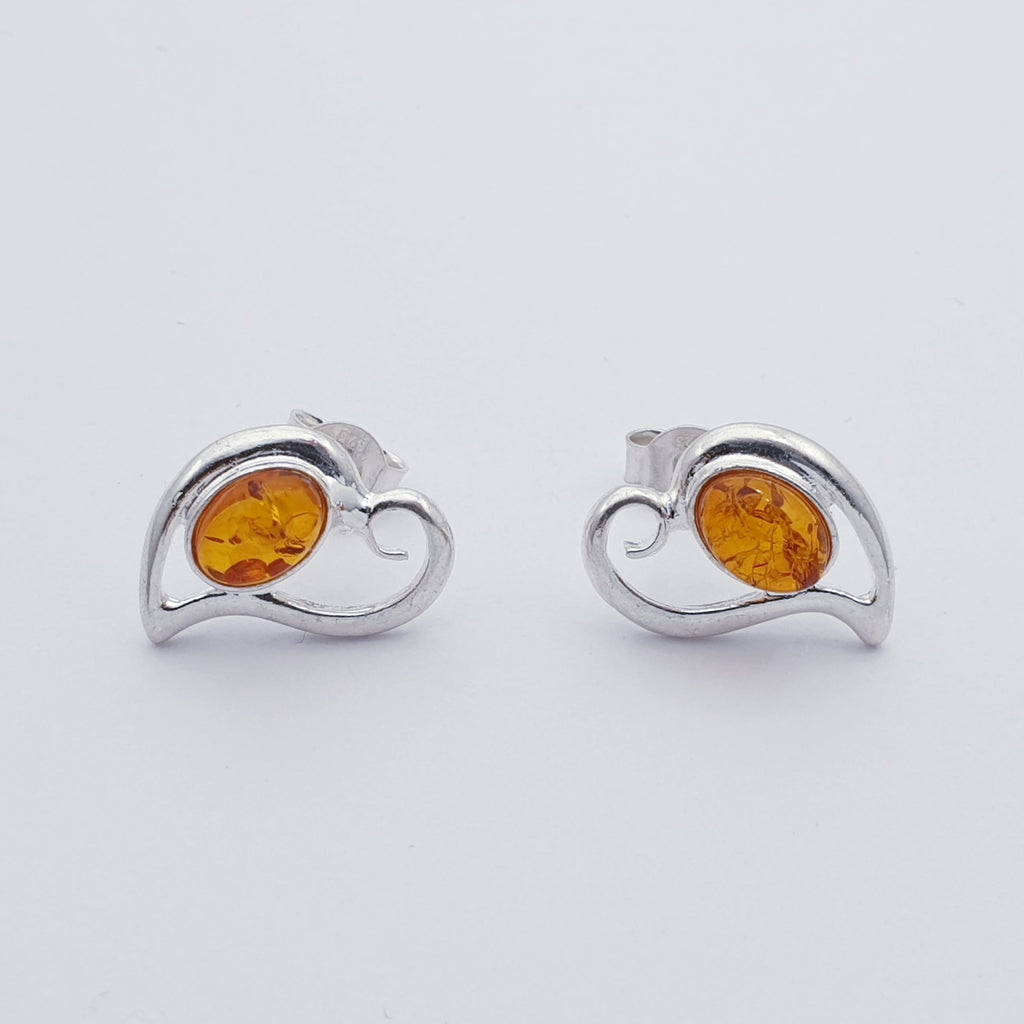 Toffee or Green Amber Heart Swirl Studs