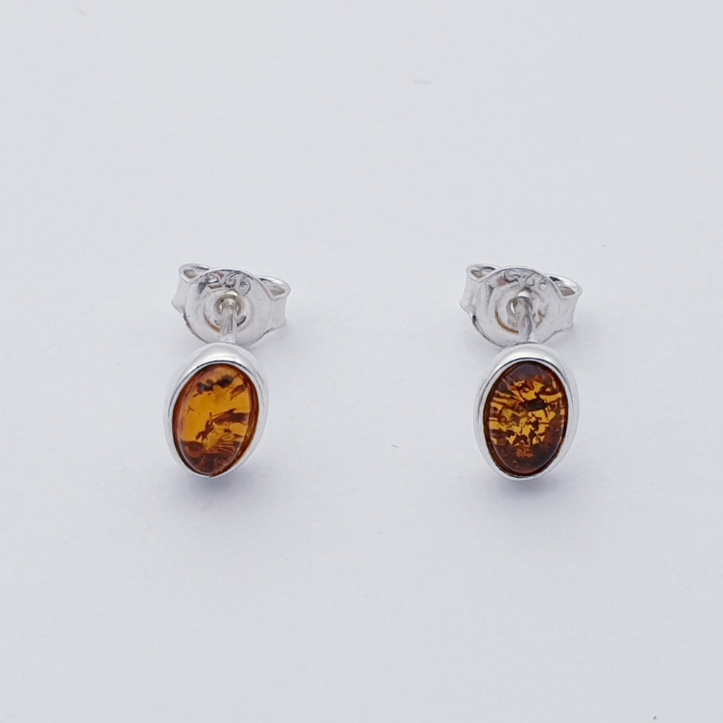 Toffee or Green Amber Small Oval Studs