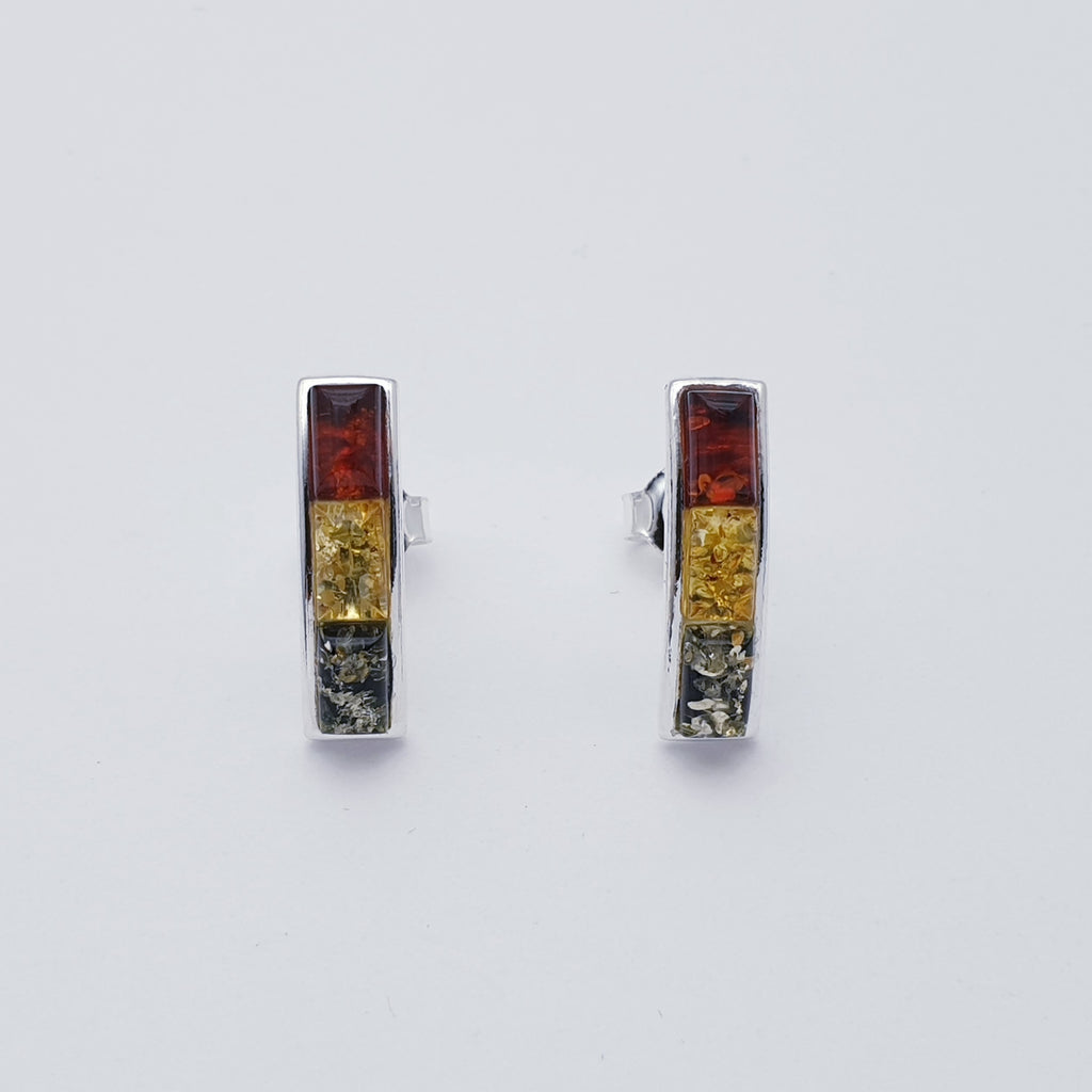 Mixed Amber Tricolour Studs