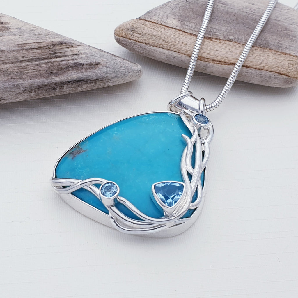 One-off Turquoise and Blue Topaz Laminaria Pendant