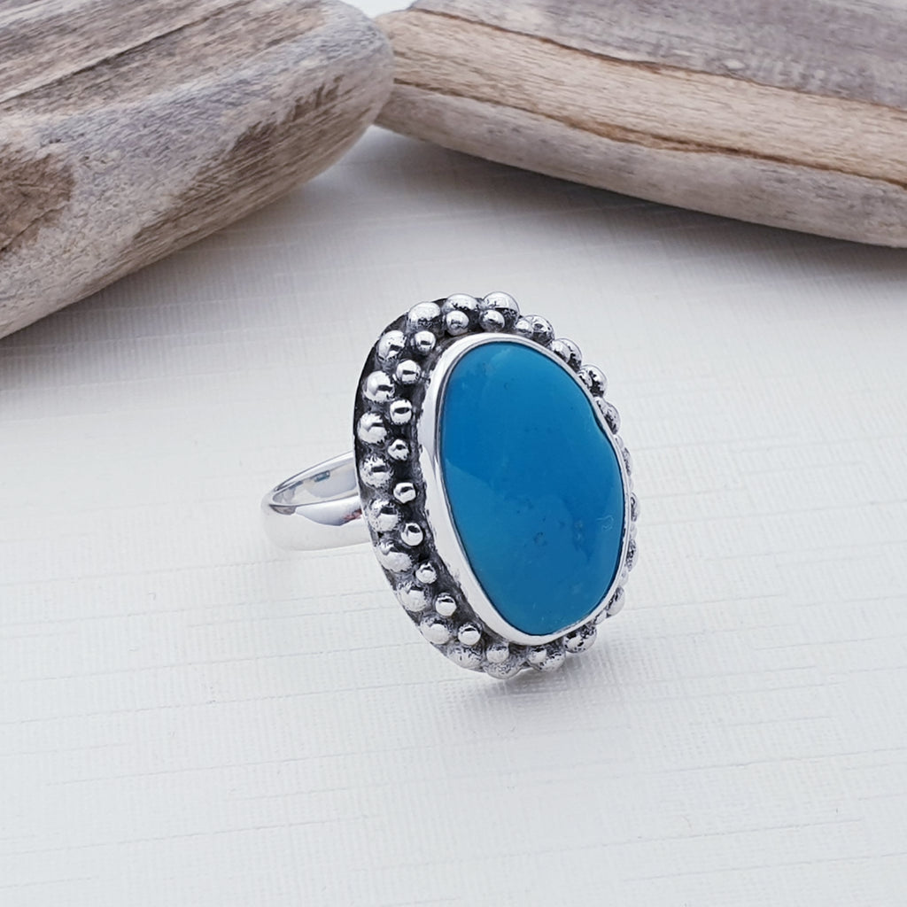 One-off Medium Sleeping Beauty Turquoise Boho Ring - Size O1/2