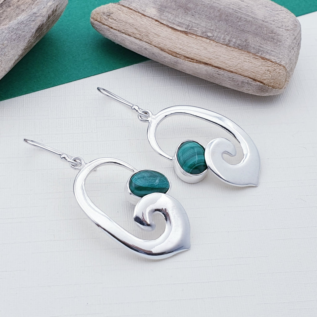 Malachite Open Swirl Earrings
