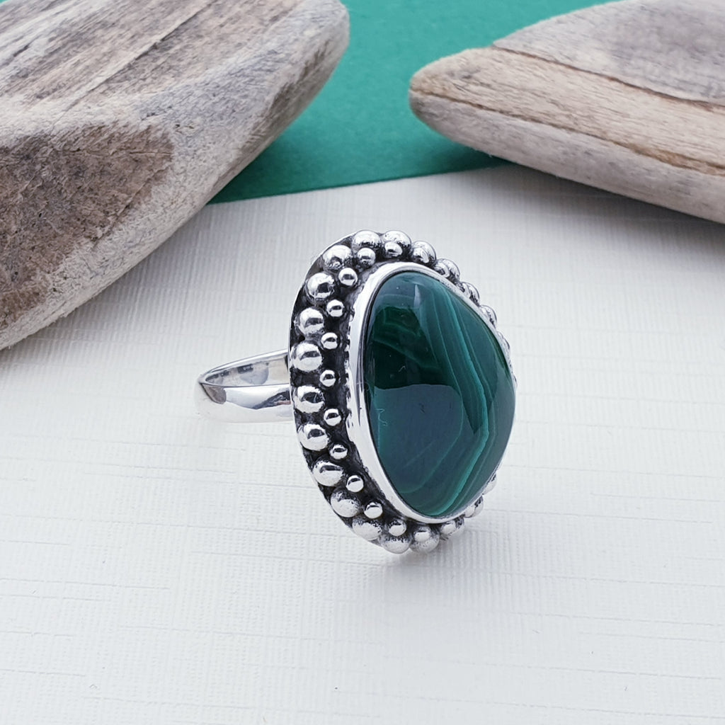 One-off Malachite Boho Eros Ring - Size P
