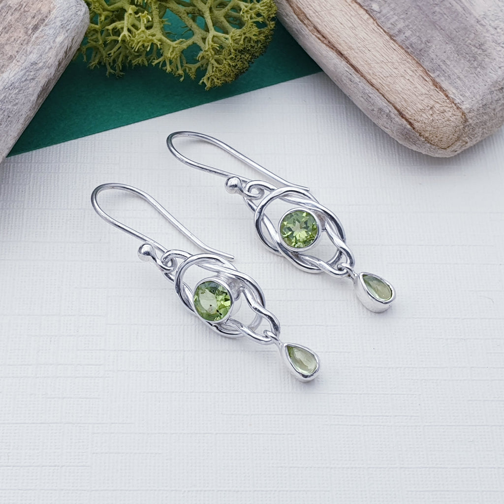 Peridot Knot Earrings