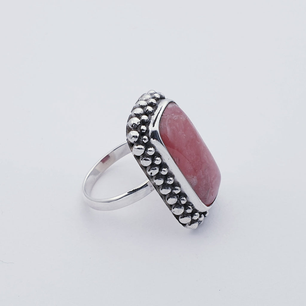 One-off Rhodochrosite Rectangle Boho Ring - Size Q 1/2