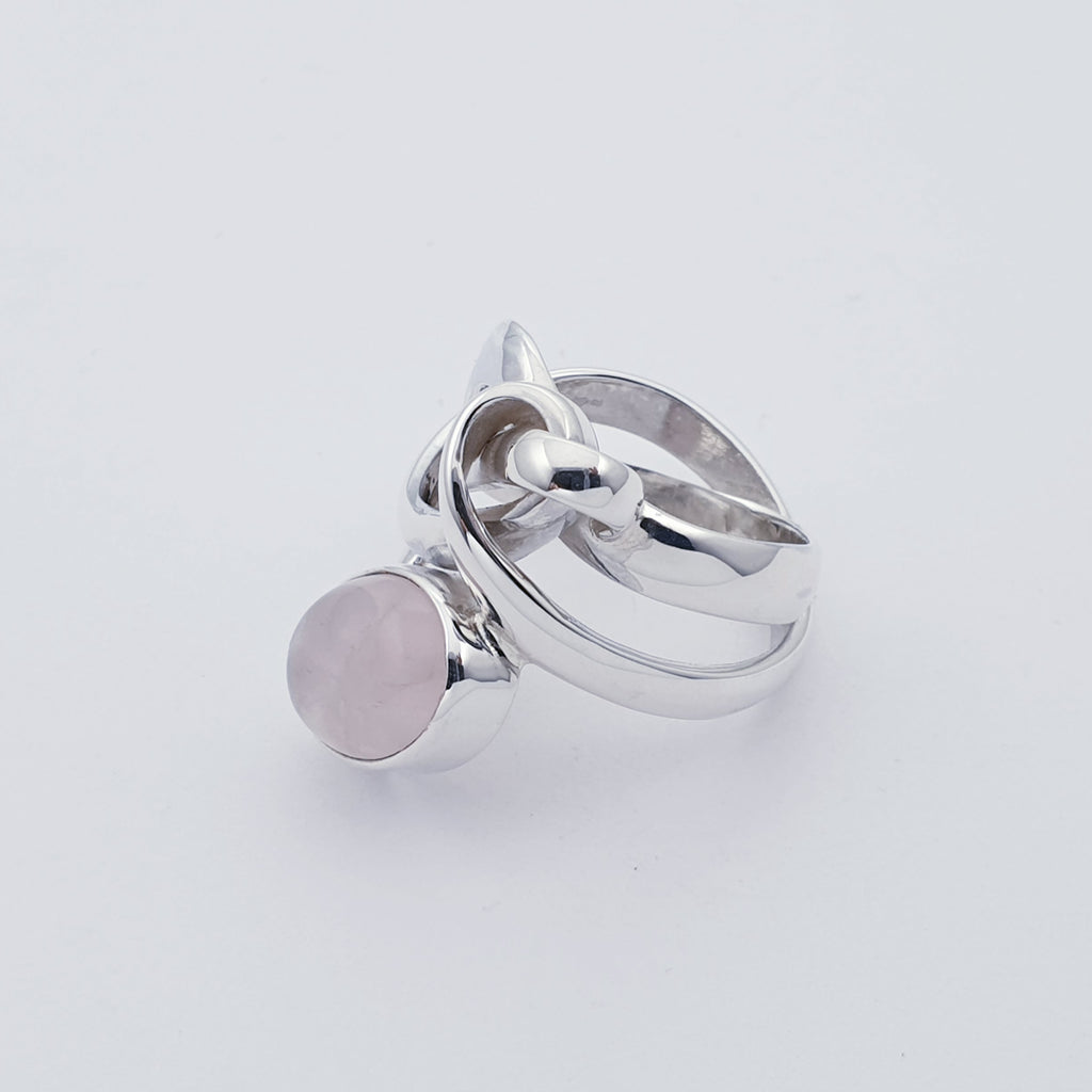 Rose Quartz Knot Ring - Size R