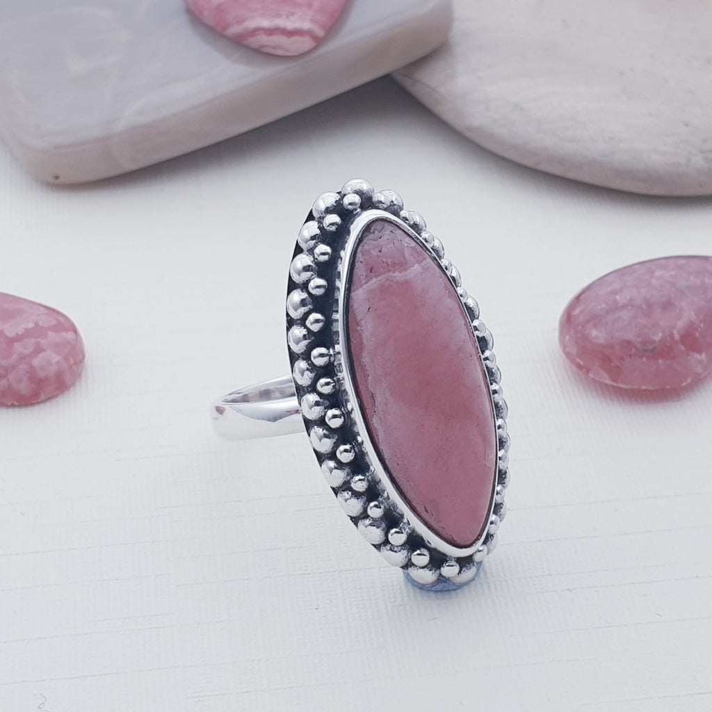One-off Rhodochrosite Marquise Boho Ring - Size Q 1/2