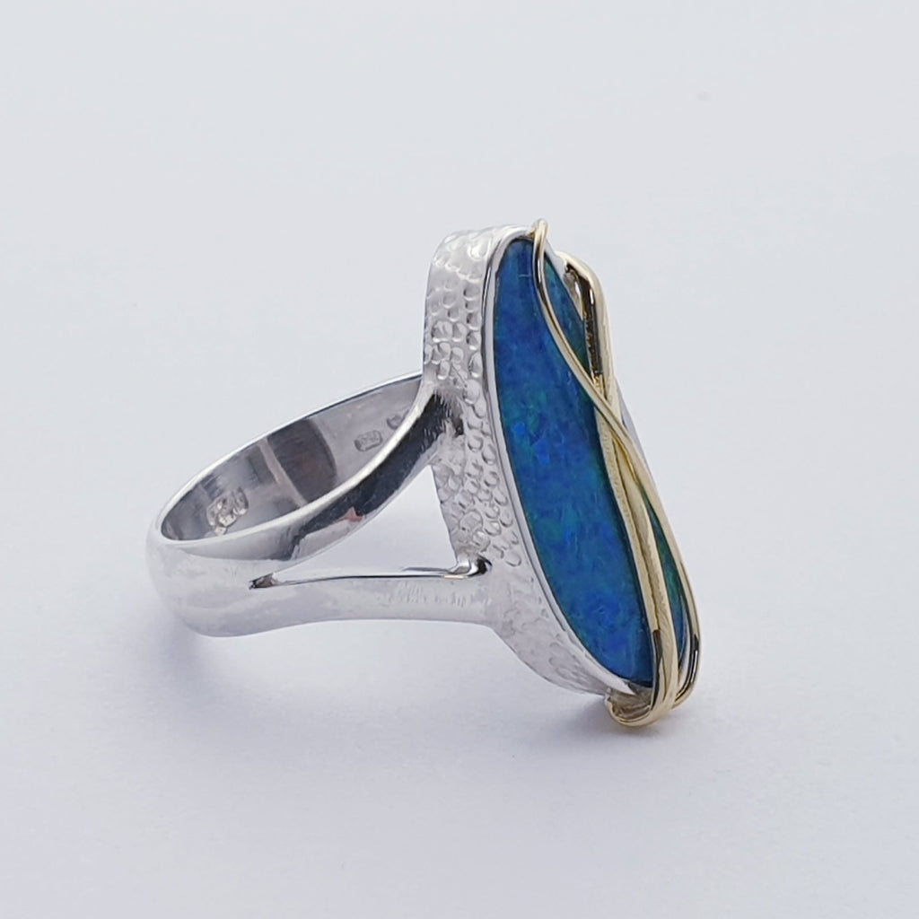 One-off Opal 18K Gold and Sterling Silver Ring - Size N