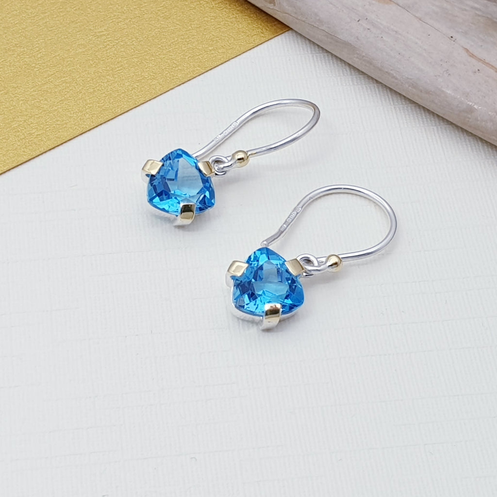 Swiss Blue Topaz 18K Gold and Sterling Silver Earrings