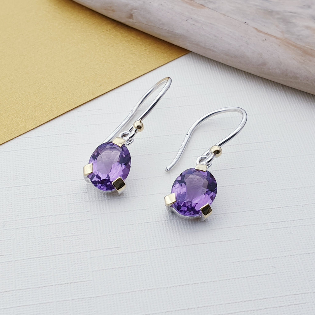 Amethyst 18K Gold and Sterling Silver Earrings