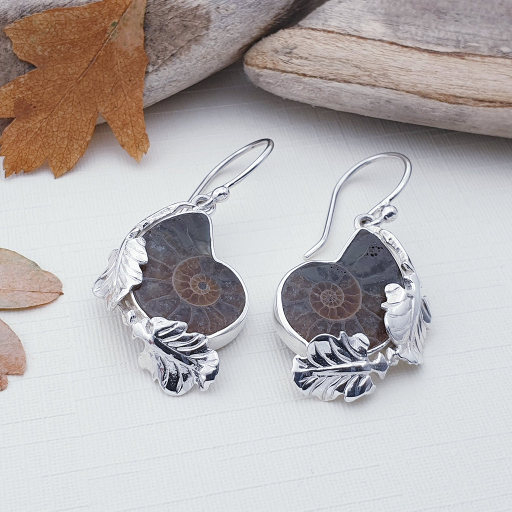 Ammonite Silver Leaf Earrings