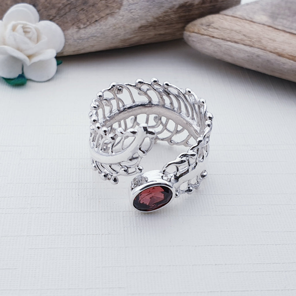 Garnet Feather Ring