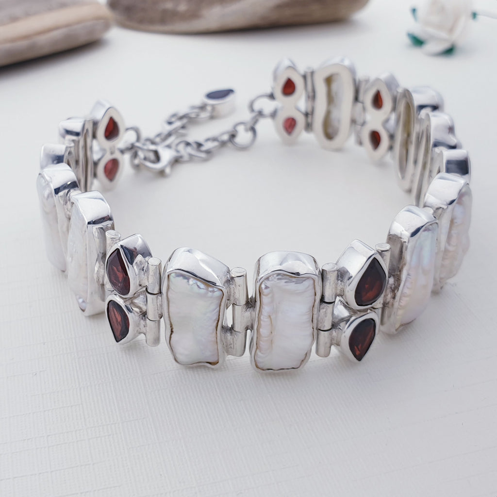 One-off Biwa Pearl and Garnet Bracelet
