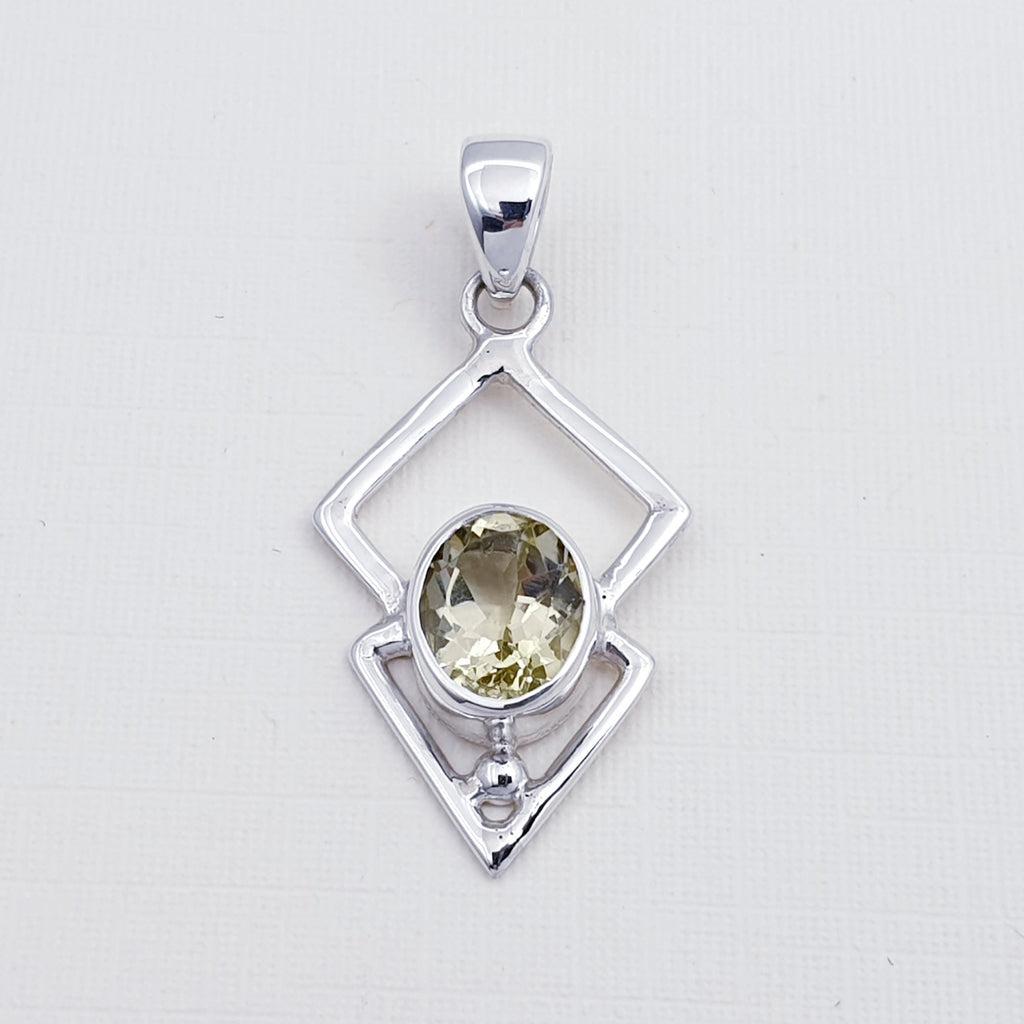 Lemon Quartz Triangulum Pendant