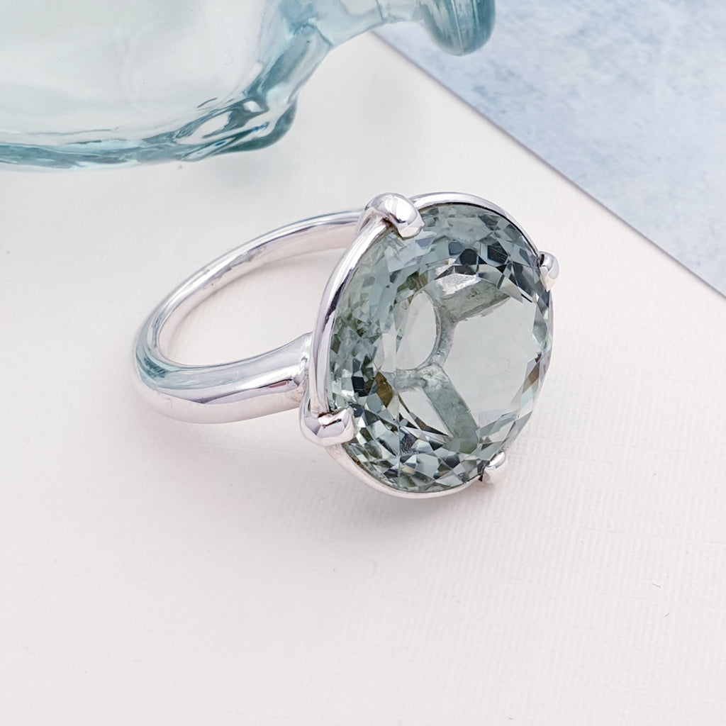 One-off Green Amethyst Solitaire Ring Size - S