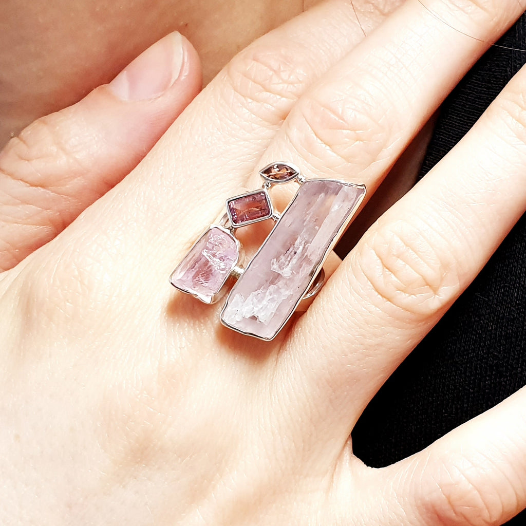 One-off Raw Kunzite and Tourmaline Nabeela Ring - Size P1/2