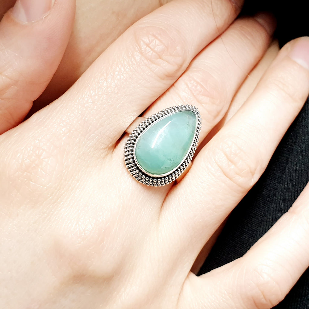 One-off Chrysoprase Boho Ring - Size P1/2