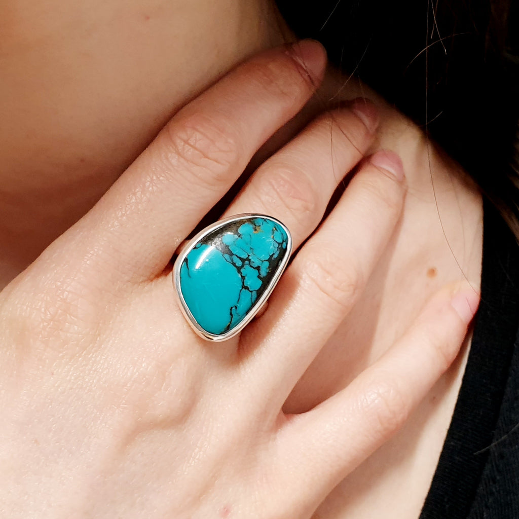 One-off Turquoise Free Form Ring - Size Q1/2