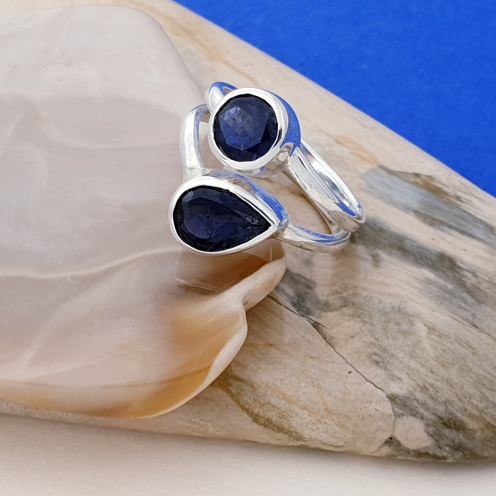 Iolite Double Stone Ring