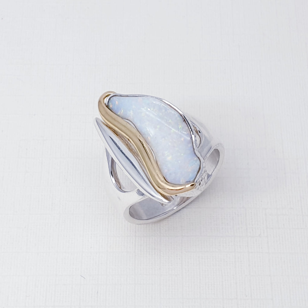 One-off Opal Shell 18K Gold and Sterling Silver Ring - Size P1/2