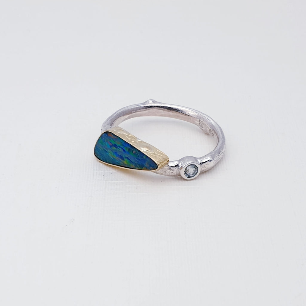 One-off Opal and Blue Tourmaline 18K Gold and Sterling Silver Ring - Size R1/2