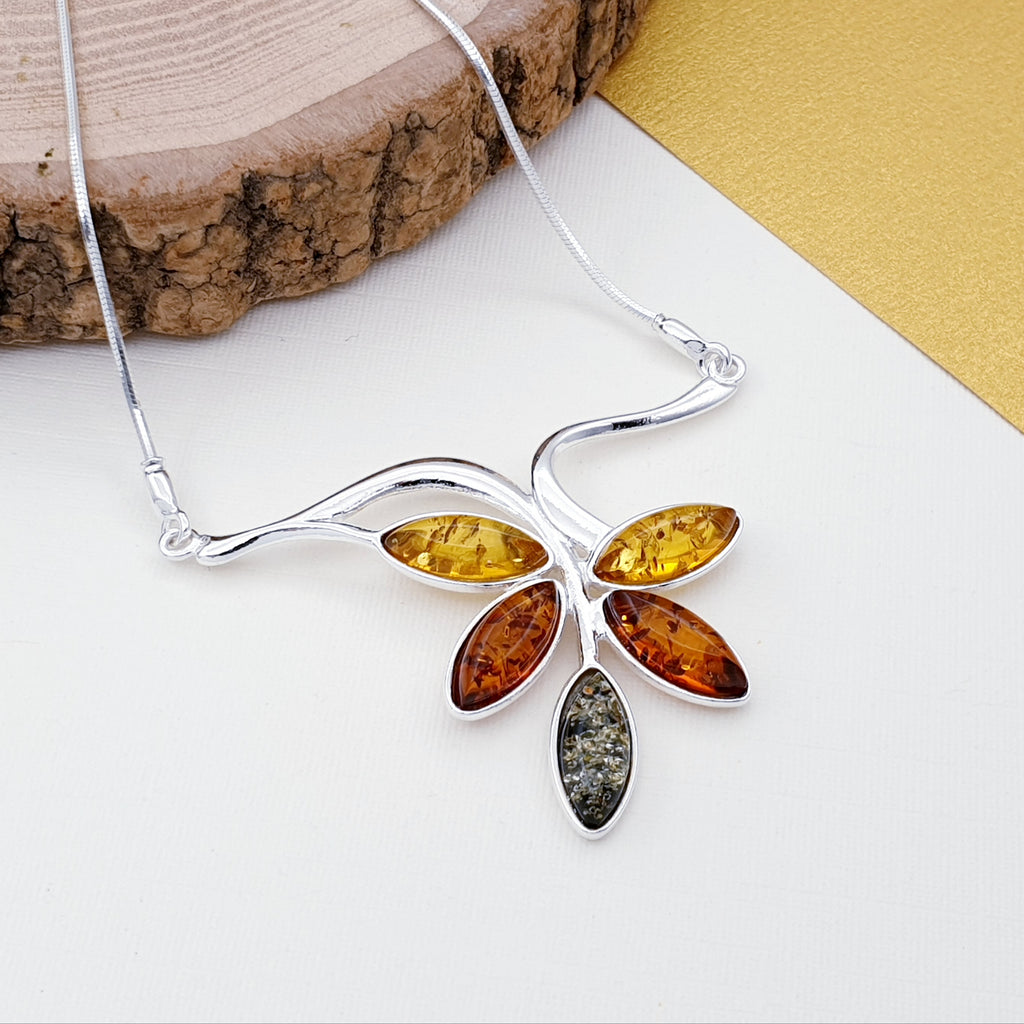 Mixed Amber Vine Necklace