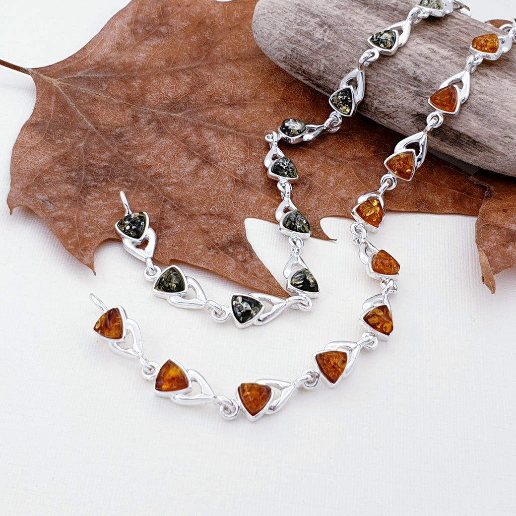 Green or Toffee Amber Triangle Bracelet
