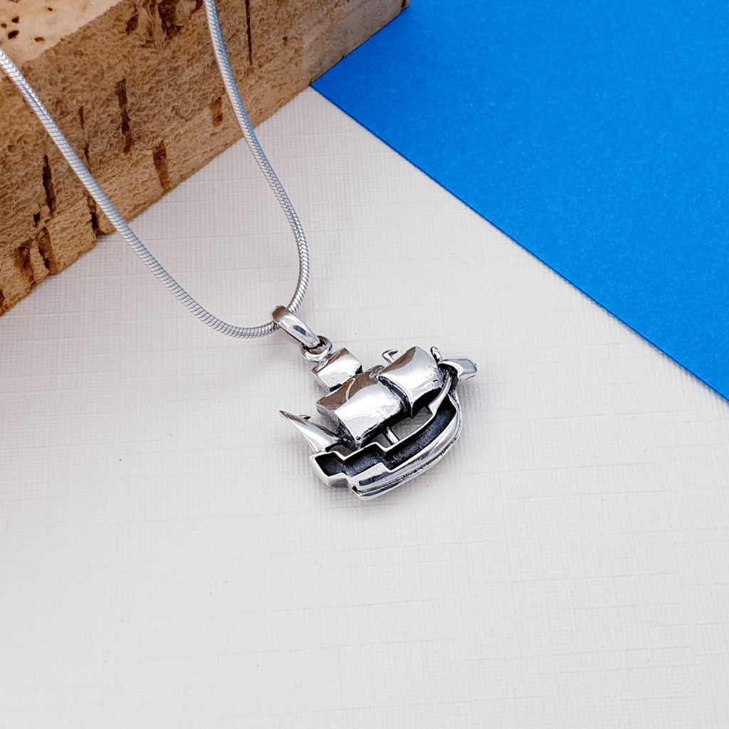 Silver Pirate Ship Pendant
