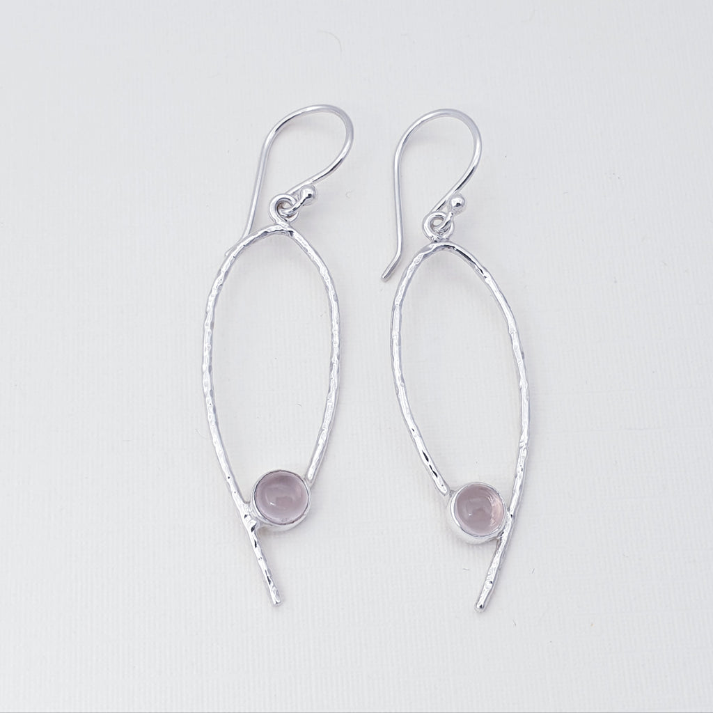 Rose Quartz Simple Hammered Earrings