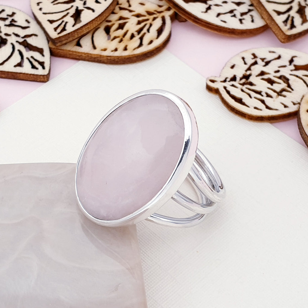 Rose Quartz Oval Ring