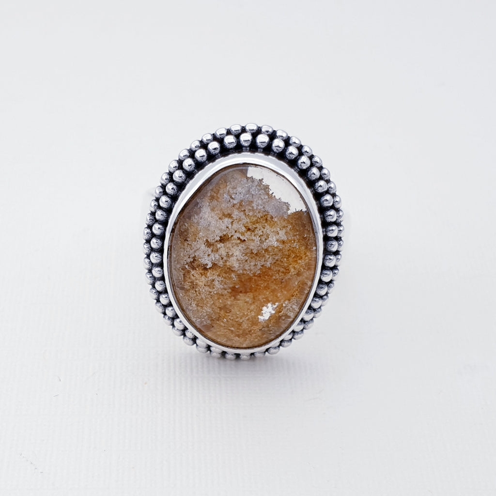 One-off Lodolite Boho Oval Ring - Size L 1/2