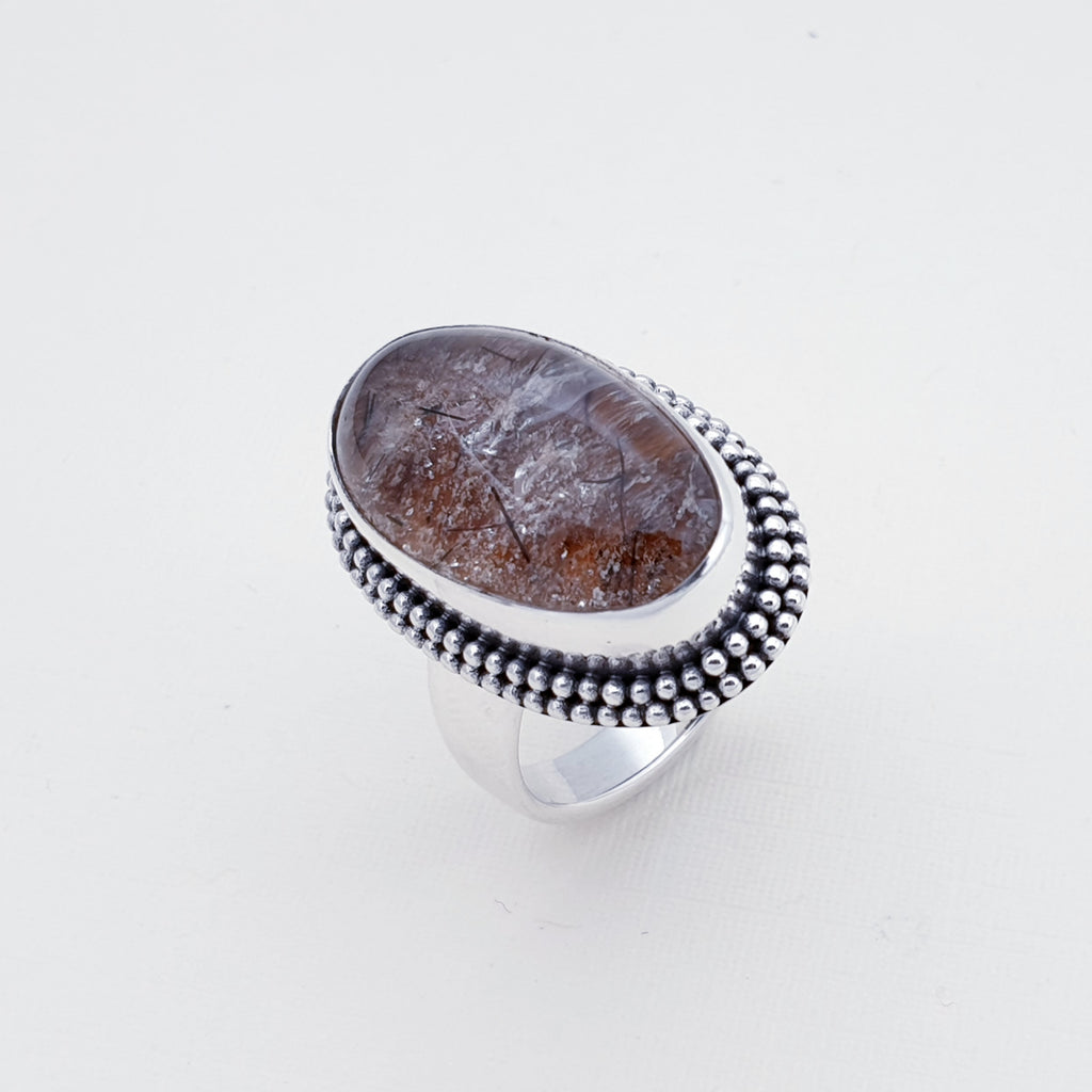One-off Tourmalinated Lodolite Boho Ring - Size Q 1/2