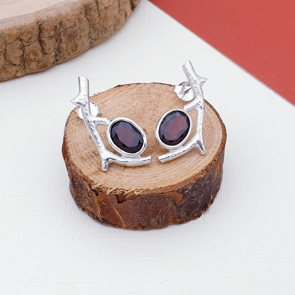 Garnet Twig Stud Earrings